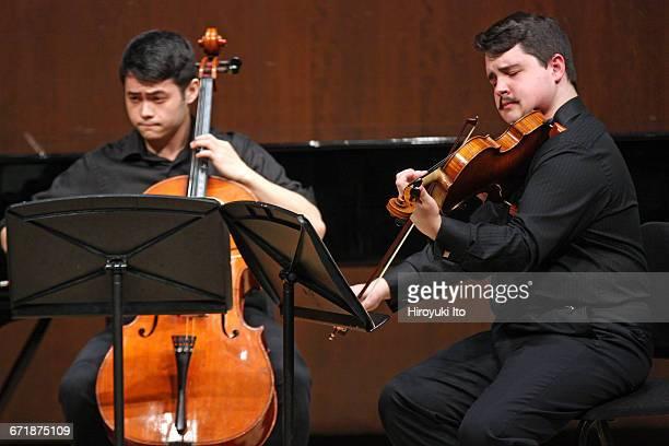 David Finckel Master Class at Juilliard School's Paul Hall on Monday afternoon March 21 2016 This image Nova Quartet From left Noah Koh and Robert...