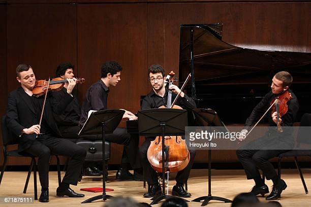 David Finckel Master Class at Juilliard School's Paul Hall on Monday afternoon March 21 2016 This image Zelda Quartet From left Philip Zuckerman...