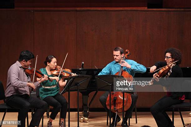 David Finckel Master Class at Juilliard School's Paul Hall on Monday afternoon, March 21, 2016. This image: With Verona String Quartet. From left,...