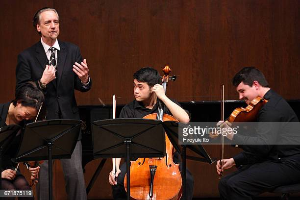 David Finckel Master Class at Juilliard School's Paul Hall on Monday afternoon March 21 2016 This image With Nova Quartet From left Katherine Lim...
