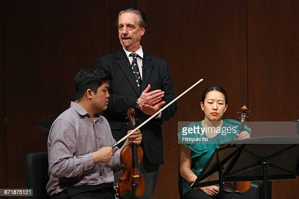 David Finckel Master Class at Juilliard School's Paul Hall on Monday afternoon March 21 2016 This image With Verona String Quartet From left Jonathan...