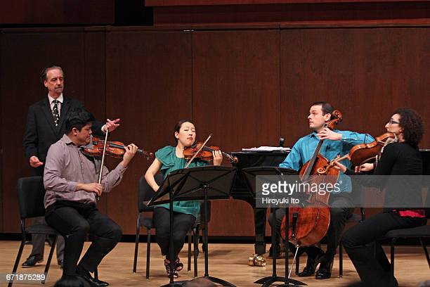 David Finckel Master Class at Juilliard School's Paul Hall on Monday afternoon March 21 2016 This image With Verona String Quartet From left David...
