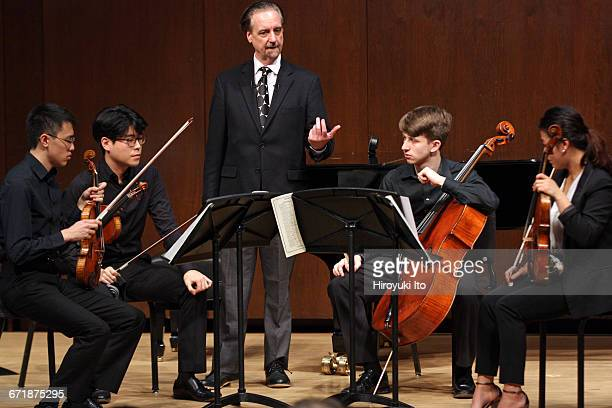 David Finckel Master Class at Juilliard School's Paul Hall on Monday afternoon March 21 2016 This image With Lumiere Quartet From left Max Tan Daniel...