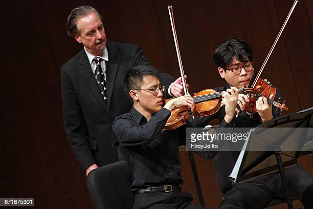 David Finckel Master Class at Juilliard School's Paul Hall on Monday afternoon March 21 2016 This image With Lumiere Quartet From left David Finckel...