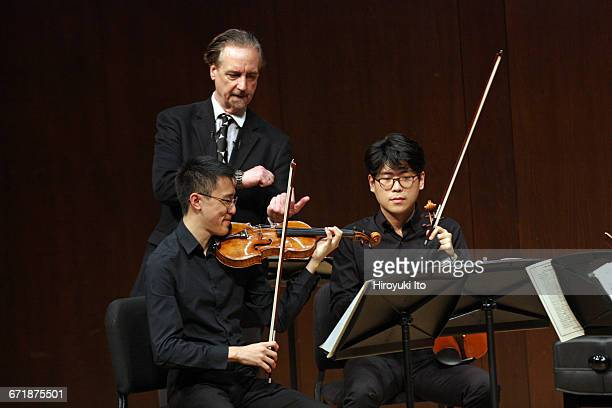 David Finckel Master Class at Juilliard School's Paul Hall on Monday afternoon March 21 2016 This image With Lumiere Quartet From left Max Tan David...