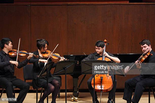 David Finckel Master Class at Juilliard School's Paul Hall on Monday afternoon March 21 2016 This image Nova Quartet From left David Chang Katherine...