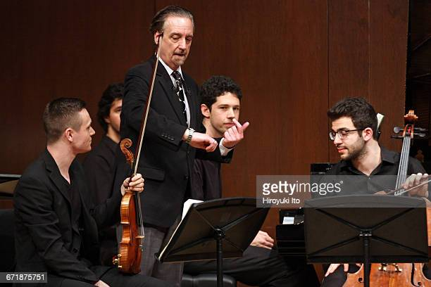 David Finckel Master Class at Juilliard School's Paul Hall on Monday afternoon March 21 2016 This image With Zelda Quartet From left Philip Zuckerman...