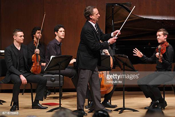David Finckel Master Class at Juilliard School's Paul Hall on Monday afternoon March 21 2016 This image Zelda Quartet From left Philip Zuckerman...