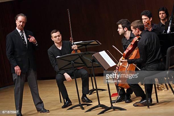 David Finckel Master Class at Juilliard School's Paul Hall on Monday afternoon March 21 2016 This image Zelda Quartet From left David Finckel Philip...