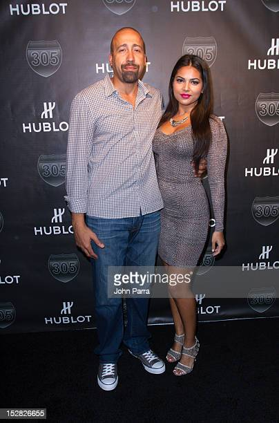 David Fizdale and Natasha Sen attend the Hublot Introduces The King Power 305 Timepiece at W South Beach Hotel Residences on September 26 2012 in...