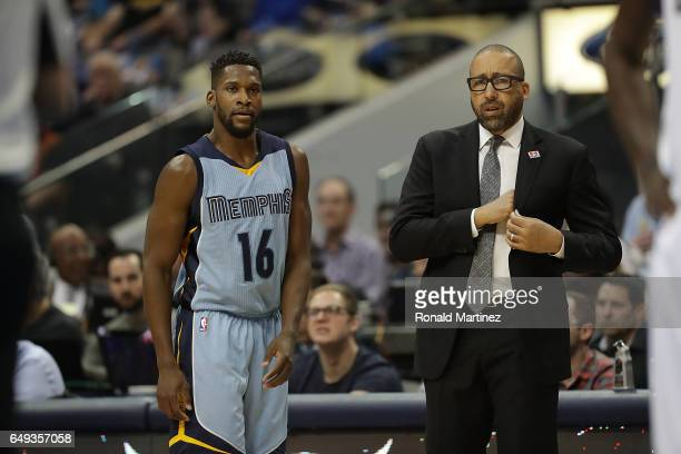 David Fizdale and Toney Douglas of the Memphis Grizzlies at American Airlines Center on March 3 2017 in Dallas Texas NOTE TO USER User expressly...