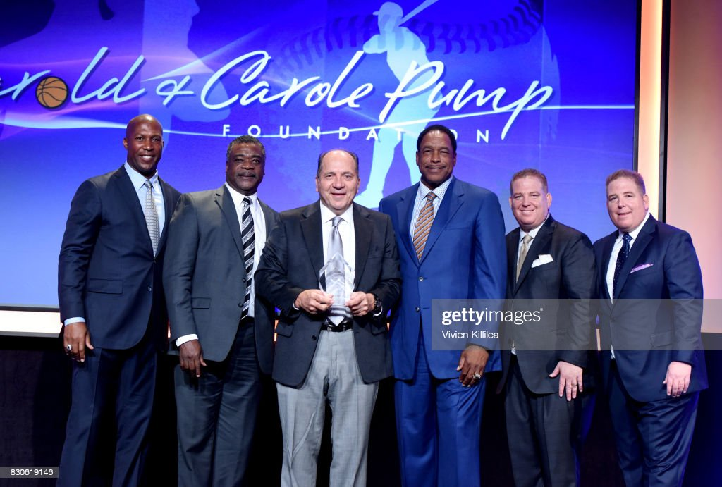 David Fizdale, Eddie Murray, Johnny Bench, Dave Winfield, Dana Pump and David Pump attend the 17th Annual Harold & Carole Pump Foundation Gala at The Beverly Hilton Hotel on August 11, 2017 in Beverly Hills, California.