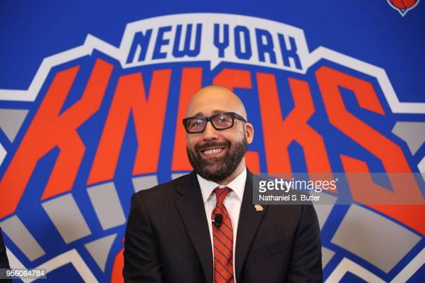 David Fizdale is announced as the new head coach of the New York Knicks during a press conference on May 8 2018 at Madison Square Garden in New York...
