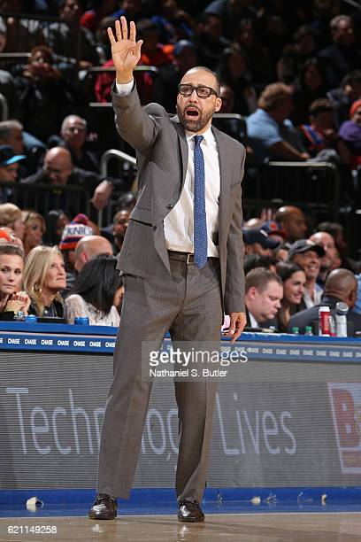 David Fizdale of the Memphis Grizzlies coaches against the New York Knicks on October 29 2016 at Madison Square Garden in New York City New York NOTE...