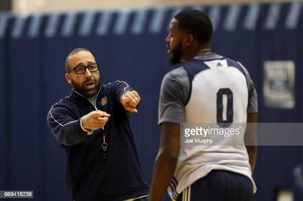 David Fizdale of the Memphis Grizzlies coaches during an all access practice on April 11 2017 at FedExForum in Memphis Tennessee NOTE TO USER User...