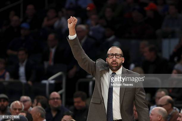 David Fizdale of the Memphis Grizzlies directs his team against the New York Knicks during the second half at Madison Square Garden on October 29...