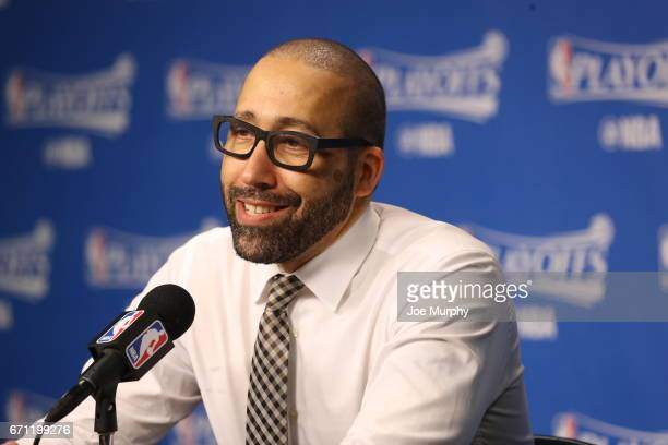 David Fizdale of the Memphis Grizzlies talks to the media after the game against the San Antonio Spurs during Game Three of the Western Conference...