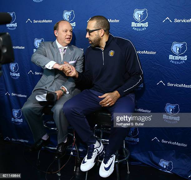David Fizdale of the Memphis Grizzlies talks to the media before the game against the New York Knicks on October 29 2016 at Madison Square Garden in...