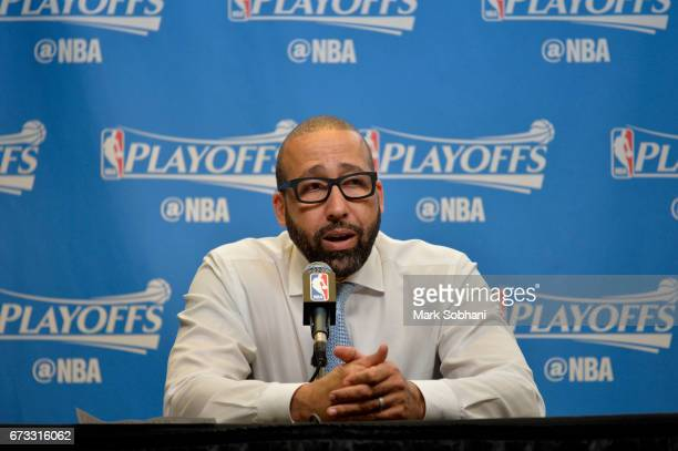 David Fizdale of the Memphis Grizzlies talks to the media during a press conference after Game Five of the Western Conference Quarterfinals against...
