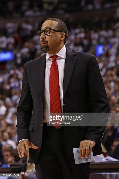 David Fizdale of the Miami Heat coaches in Game Two of the Eastern Conference Semifinals against the Toronto Raptors on May 5 2016 at the Air Canada...