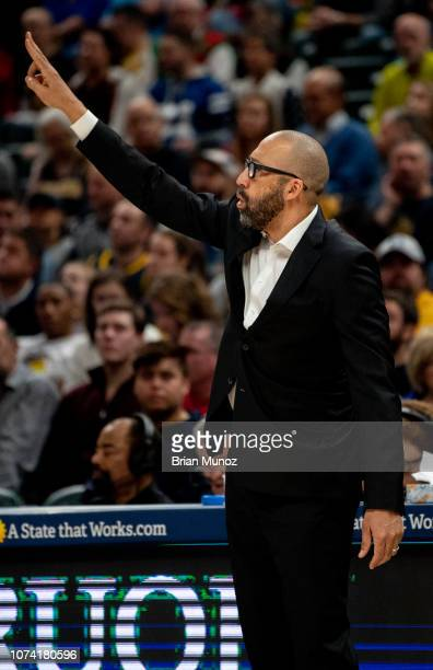 David Fizdale of the New York Knicks gestures towards his players during the first half of the game against the Indiana Pacers at Bankers Life...