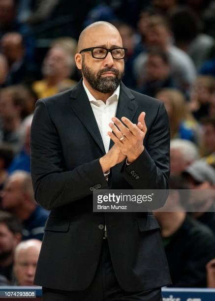 David Fizdale of the New York Knicks reacts to a play during the first half of the game against the Indiana Pacers at Bankers Life Fieldhouse on...