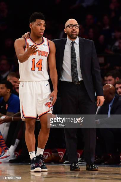 David Fizdale of the New York Knicks talks with Allonzo Trier during the fourth quarter of the game against the Miami Heat at Madison Square Garden...