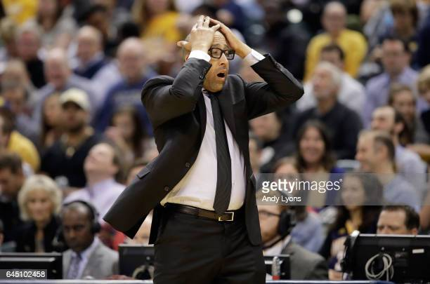 David Fizdale the head coach of the Memphis Grizzlies reacts after a foul was called on his team against the Indiana Pacers during the game at...