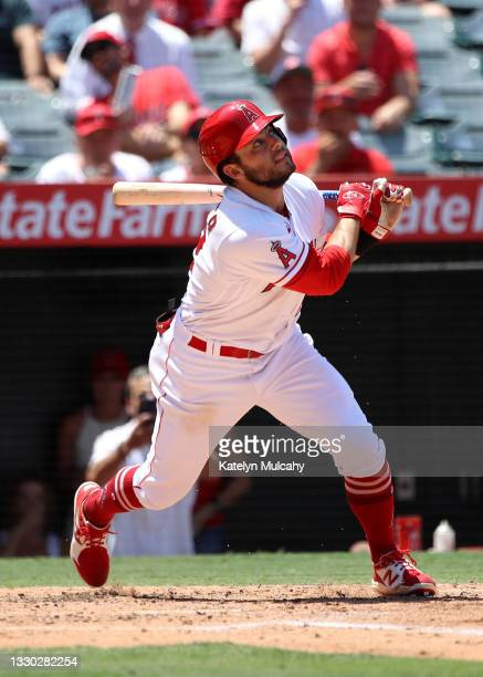 David Fletcher of the Los Angeles Angels at bat during the third inning against the Seattle Mariners at Angel Stadium of Anaheim on July 18, 2021 in...