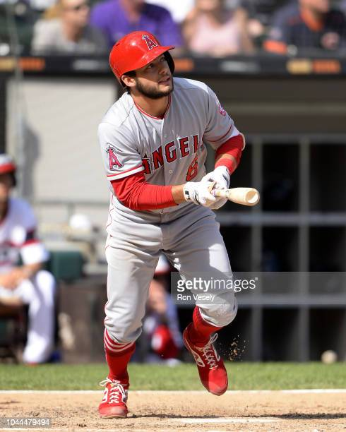 David Fletcher of the Los Angeles Angels bats against the Chicago White Sox on September 23 2018 at Guaranteed Rate Field in Chicago Illinois
