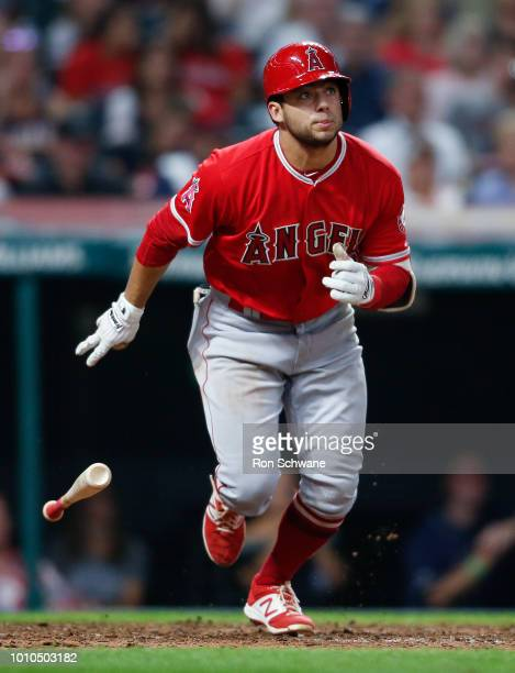David Fletcher of the Los Angeles Angels hits a one run double off Adam Cimber of the Cleveland Indians during the eighth inning at Progressive Field...
