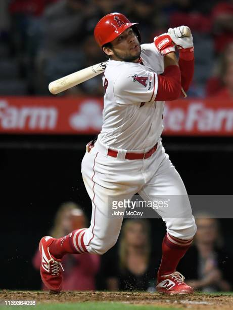David Fletcher of the Los Angeles Angels of Anaheim gets a three RBI tripple against Joe Harvey of the New York Yankees in the seventh inning at...