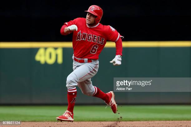 David Fletcher of the Los Angeles Angels of Anaheim laps the bases in the fourth inning against the Seattle Mariners during their game at Safeco...