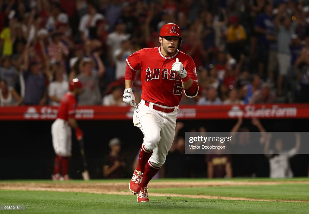 David Fletcher #6 of the Los Angeles Angels of Anaheim runs to first base on his rbi single in the bottom of the ninth during the MLB game against the Los Angeles Dodgers at Angel Stadium on July 6, 2018 in Anaheim, California. The Angels defeated the Dodgers 3-2.