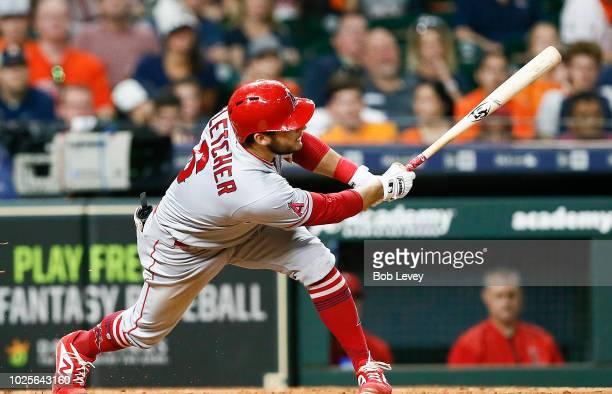 David Fletcher of the Los Angeles Angels of Anaheim singles in the sixth inning against the Houston Astros at Minute Maid Park on August 31 2018 in...