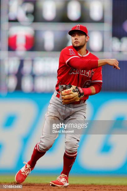 David Fletcher of the Los Angeles Angels of Anaheim throws to first base against the Cleveland Indians in the fifth inning at Progressive Field on...
