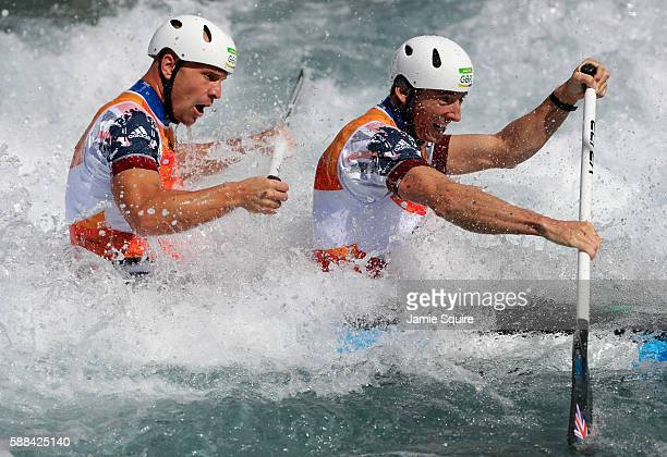 David Florence and Richard Hounslow of Great Britain compete during the Men's Canoe Double Semifinal on Day 6 of the Rio 2016 Olympics at Whitewater...