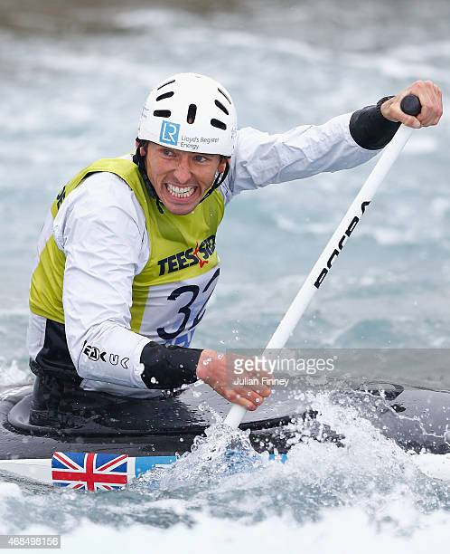 David Florence competes in the Men's Canoe event during the GB Canoe Slalom 2015 Selection Trials at Lee Valley White Water Centre on April 3 2015 in...