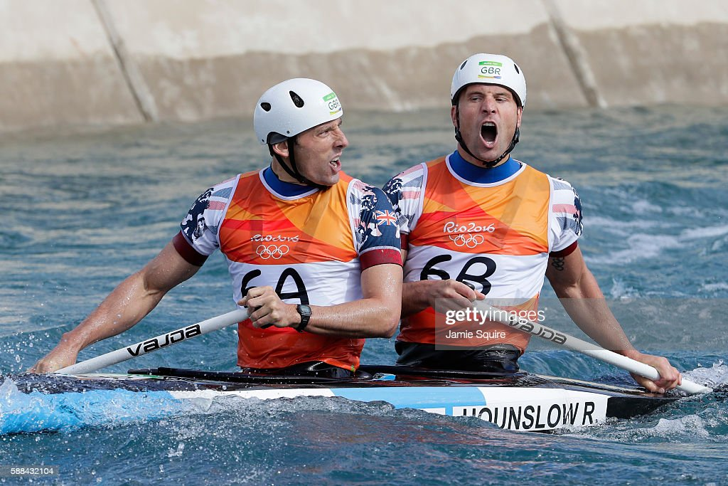 David Florence Of Great Britain And Richard Hounslow React After Crossing The Finish