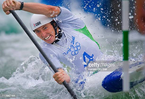 David Florence of Great Britain paddles the whitewater slalom course during qualifying on Monday August 11 during the games of the XXIX Olympiad in...