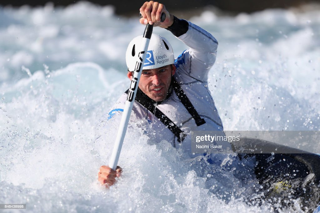 David Florence of Great Britain trains in the Canoe Single (C1) during training at Lee Valley White Water Centre on September 13, 2017 in London, England.