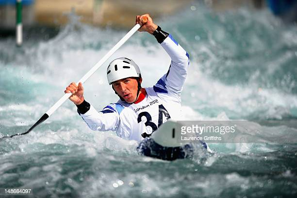 David Florence of Team GB Canoe powers his way down the course during Canoe Slalom practice at Lee Valley White Water Centre on July 19, 2012 in...
