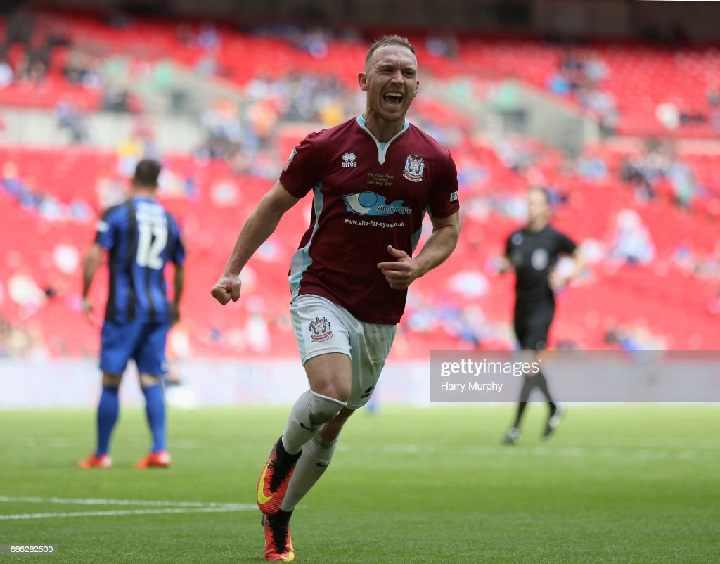 David Foley of South Shields celebrates scoring his teams third goal during the Buildbase FA Vase Final between South Shields and Cleethorpes Town at Wembley Stadium on May 21, 2017 in London, England.