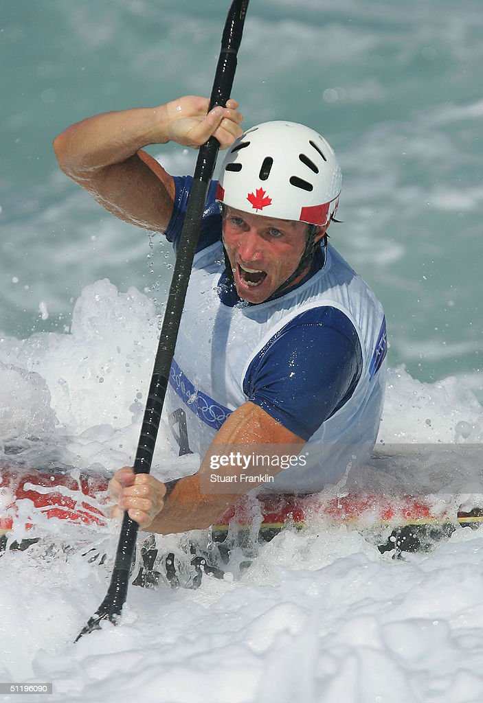 David Ford of Canada fights with the water current in the men's K-1 class slalom semifinal on August 20, 2004 during the Athens 2004 Summer Olympic Games at the Schinias Olympic Slalom Centre in Athens, Greece.