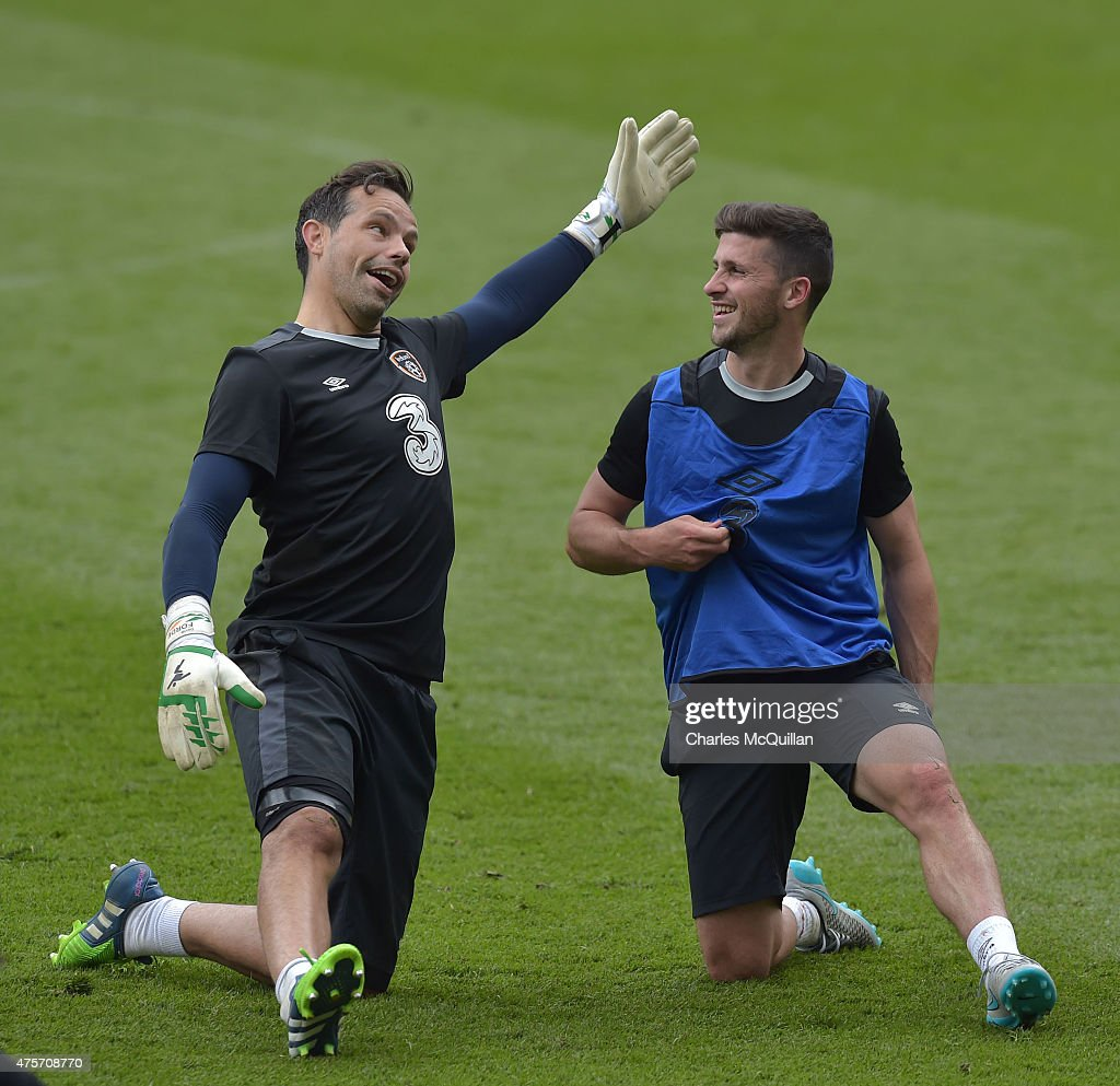 David Forde (L) and Robbie Brady (R) of the Republic of Ireland during a training session at Aviva Stadium on June 3, 2015 in Dublin, Ireland. The Republic of Ireland play England in a friendly game this coming Sunday, the first meeting between the two sides in Dublin since the abandonment of a game in 1995 due to hooliganism.