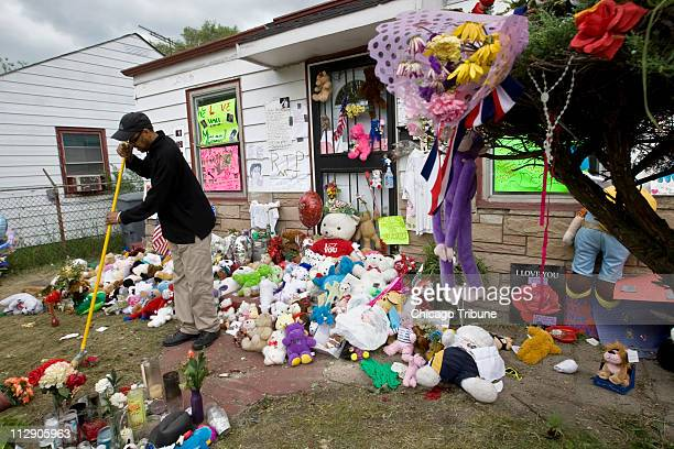David Fossett cousin of Michael Jackson who lives in the Jackson family house in Gary Indiana saves bears letters flowers and other artifacts that...