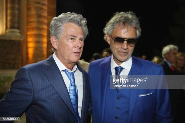 David Foster and Andrea Bocelli attend the Dinner at Villa Madama as part of the 2017 Celebrity Fight Night in Italy Benefiting The Andrea Bocelli...
