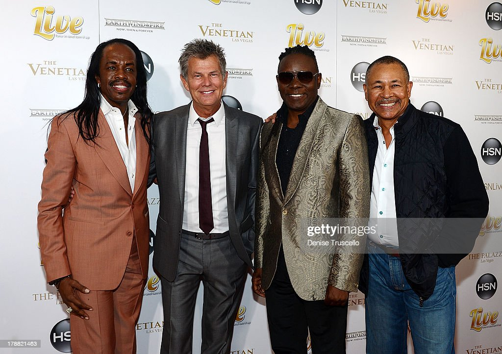 David Foster (2nd L) and Earth, Wind & Fire founding members Verdine White, Philip Bailey and Ralph Johnson arrive for their HSN Live broadcast special at The Venetian Las Vegas on August 30, 2013 in Las Vegas, Nevada.