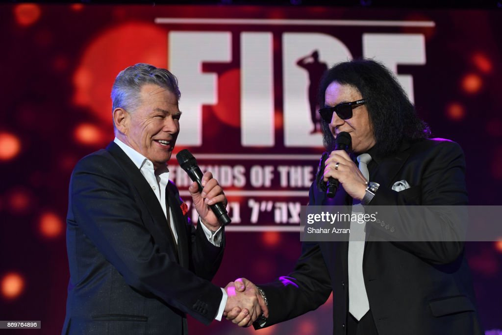David Foster and Gene Simmons at the FIDF Western Region Gala held at The Beverly Hilton Hotel on November 2, 2017 in Beverly Hills, California.