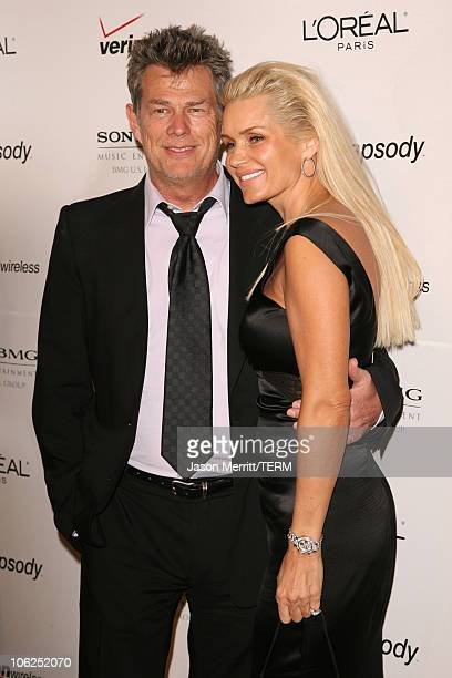 David Foster and guest during 2007 Clive Davis PreGRAMMY Awards Party Arrivals at Beverly Hilton Hotel in Beverly Hills California United States